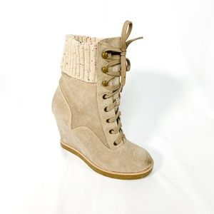 REPORT Leather Khaki Wedge Lace Up Boot Knit Cuff